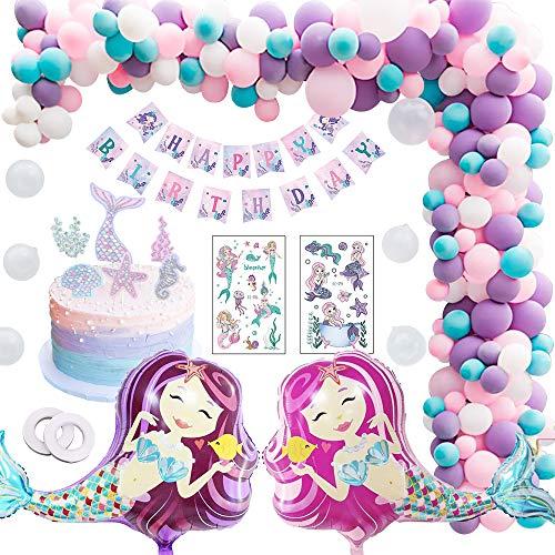 MMTX Sirena Decorazioni Compleanno Bambina, Festa di Compleanno Palloncino con Striscione Buon Compleanno, Palloncino a Sirena per Ragazza, temi del Mare, Doccia per Bambini, Festa di Compleanno