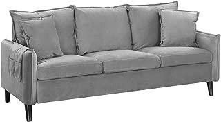 Modern Living Room Brush Microfiber Sofa (Light Grey)