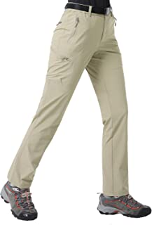 MIER Women's Quick Dry Hiking Pants Lightweight Stretchy Cargo Pants, 5 Zipper Pockets, Water Resistant