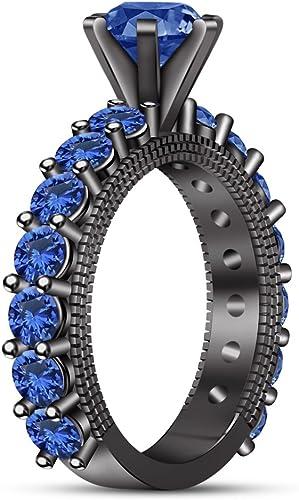Vorra Fashion Damen-Solit ing mit Akzenten in Rundschliff, blauer Saphirschmuck