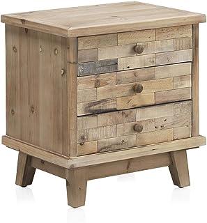 Mesita de noche madera natural de abeto rústica, 50x35x48h