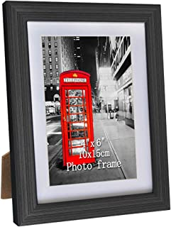 Amazing Roo 1 Pack 4x6 Picture Frame with Photo Mats Display 5 x 7 Photos Without Matted for Table Top and Wall Mounting with Real Glass, Black