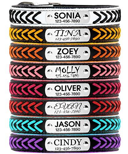 TagME Anhänger für Hundehalsband Leder mit Namen und Telefonnummer,Gepolstertes Anti-Bell Hundehalsband für Kleine Mittlere und Große Hunde