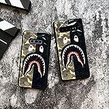 Shark Teeth Camo Print Hard Shell 3D Diamond Clear TPU Case for Samsung Galaxy S10 S10E S10+ S10 Plus Shockproof Thin Case BAPE Supreme Protective Case (Green/Black, Galaxy S10)