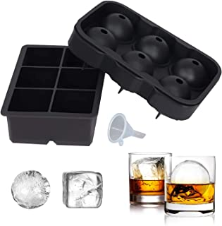 SUNSET Silicone Ice Cube Trays – Set of 2 Large Ice Cube Molds | Square & Sphere Ice Ball Maker for refrigerator | Ice Mou...