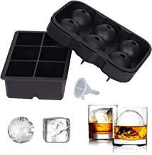 SUNSET Silicone Ice Cube Trays – Set of 2 Large Ice Cube Molds | Square & Sphere Ice Ball Maker for refrigerator | Ice Moulds for Whiskey, Cocktails & more | Reusable and BPA Free (2Pcs/Pack + Funnel) | AUSSIE Seller
