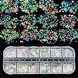 Ealicere 12 scatole Unghie Olografiche Glitter Paillettes Glitter per Unghie Paillettes per unghia...