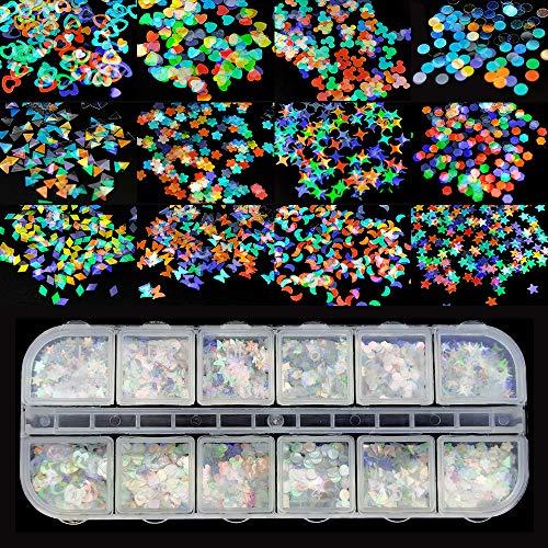 Ealicere 12 scatole Unghie Olografiche Glitter Paillettes Glitter per Unghie Paillettes per unghia Scintillanti Glitter Unghie Adesivi Decorazioni DIY per Viso Corpo...
