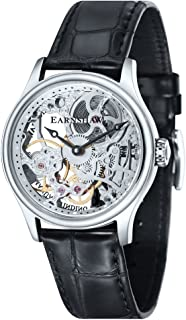 Men's Bauer MACHANICAL Skeleton Stainless Steel Mechanical-Hand-Wind Watch with Leather Strap, Black, 22 (Model: ES-8049-01)
