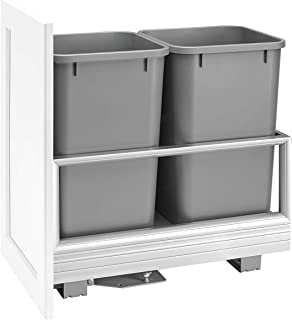 Rev-A-Shelf - 5149-1527DM-217 - Double 27Qt. Pull-Out Brushed Aluminum and Silver Waste Container with Rev-A-Motion