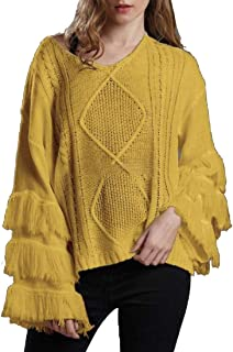 Women's Casual Long Sleeve V Neck Tassel Bell Kimono Cable Knit Jumper Pullover Sweater