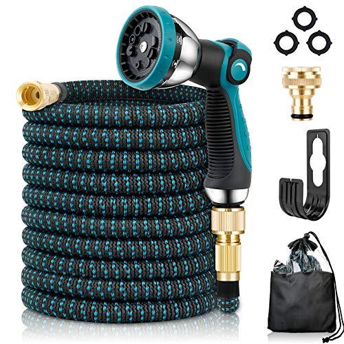 Flexibler Gartenschlauch | ausgedehnt 15m |Wasserschlauch flexibel mit 3-Fach Latexkern | dehnbarer flexiSchlauch | alle Verschraubungen aus hochwertigem Messing (15M Schlauch) (Blau)