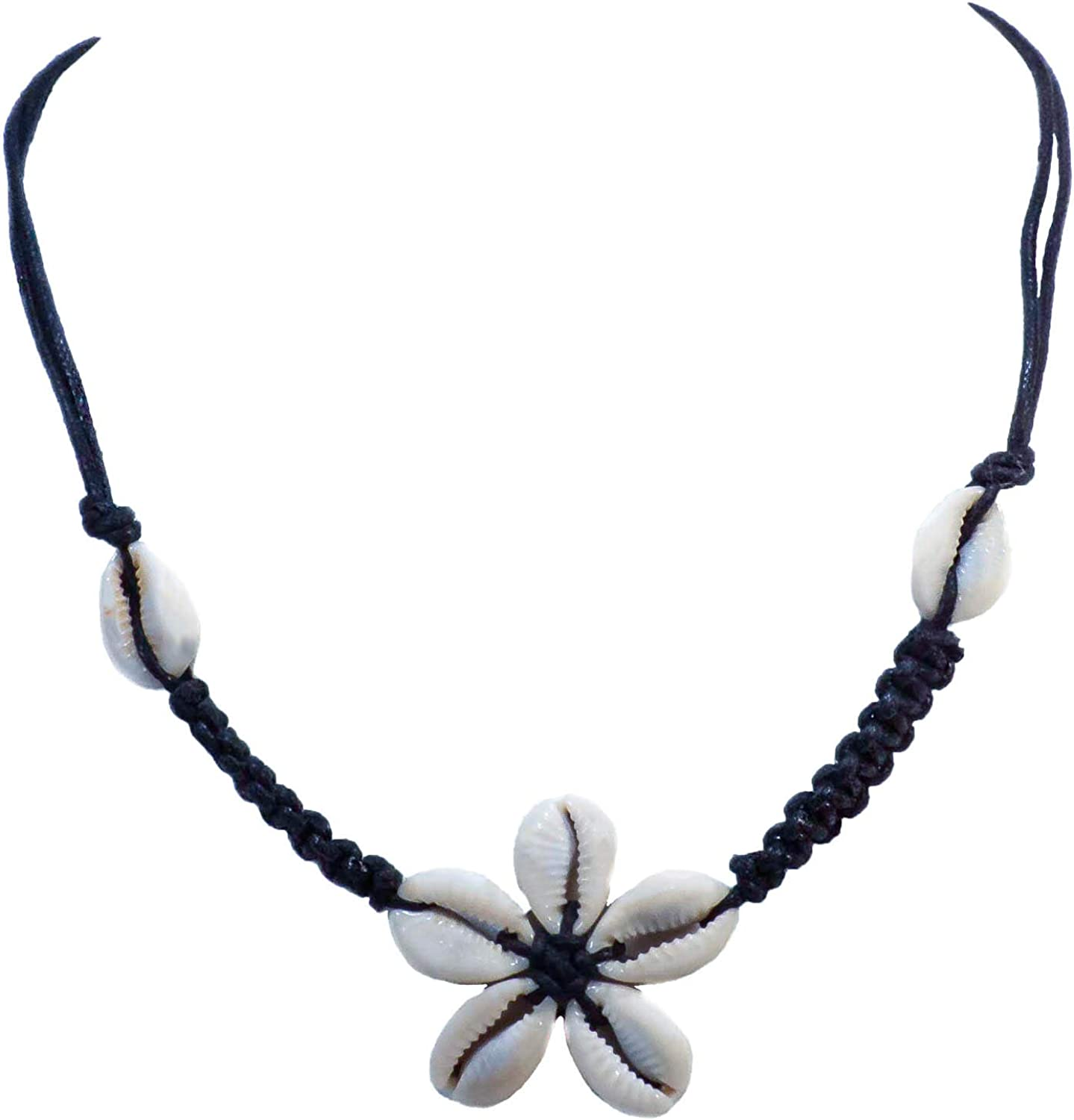 BlueRica Braided Black Cord Choker Necklace with Cowrie Shell Flower Pendant
