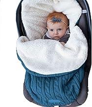 Wickeldecke für Neugeborene, für Mädchen und Jungen, gestrickter Schlafsack, leicht, weich, dick, Fleece, unisex, für Kinderwagen, Winter, warm, für 0-12 Monate