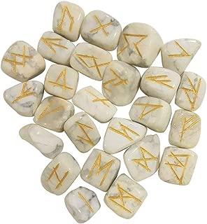 Crocon Howlite Engraved 25 pcs Rune Stones for Chakra Balancing Reiki Healing EMF Protection Gemstone Aura Cleansing Energy Generator Spiritual Meditation Size 15-20 mm