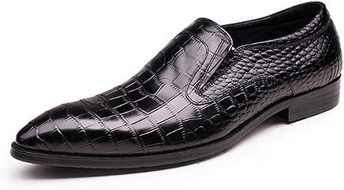 Fulinken Piel de cocodrilo auténtica herren Slip on schuhe de Oxfords Empresas Vestido Formal Loafer