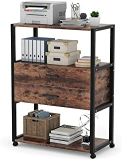 Tribesigns Mobile Printer Stand, Rustic Rolling Printer Cart with Wheels, Office Cabinet with 2-Drawers Perfect for Home Office