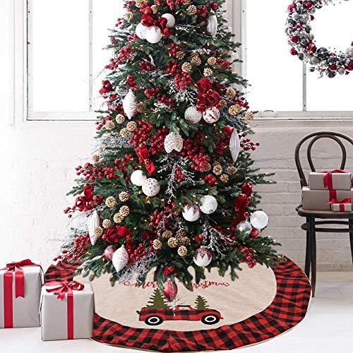 samanoya Tree Skirts Christmas 48 in/120cm, Red and Black Buffalo Burlap Plaid Christmas Tree Base Skirt Santa Decoration Xmas Party New Year Cover Mat Carpet (Beige)