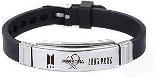 FishUS Unisex BTS Merch Bangtan Boys 방탄소년단 Army Kpop Stainless Steel Bracelet Jungkook, Jimin, V, Suga, Jin Bracelet Best Gift for Girls The Army Stainless Steel Silicone Wristband