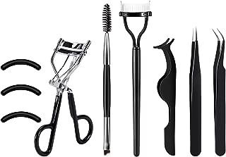 [Gift Box]SOMIER Eyelash Curler Tools Set, 7 in 1 Eyelash Makeup Kits with Silicone Refill Pads, Duo Eyebrow Brush, Eyelash Comb, Eyelash Extension Tweezers, False Eyelashes Applicator