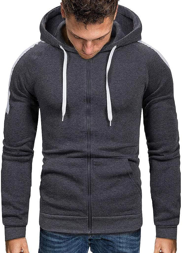Miskay Men's Long Sleeve Hoodie Solid Color Zipper Hooded Pullover Sweatshirt Jacket Outwear with Pockets