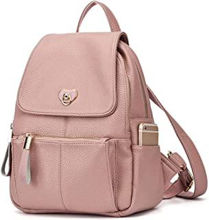 North face Backpack Female Bag Ladies PU Soft Leather Fashion Personality Lightweight Large Capacity Simple Versatile Backpack The North face Backpack (Color : Pink)