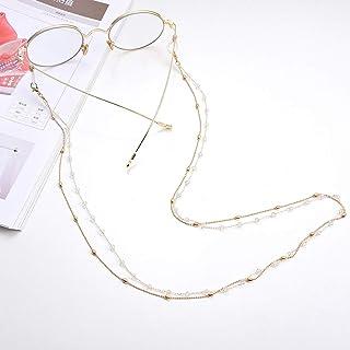 Yienate Bohême - Chaîne de lunettes pour femme avec double chaîne de perles en cuivre et strass - Accessoire de fixation d...