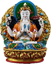ZGPTX Solemn Four-Armed Guanyin Small Buddha Statue Hand-Painted Guanyin Yusa Tibetan Secret Buddha Statue Auspicious