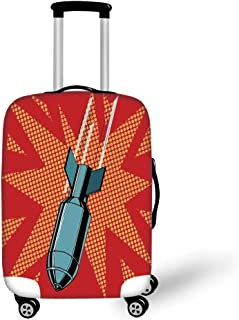 Travel Luggage Cover Suitcase Protector,Retro Car Palm Trees Sunset Beach and Su