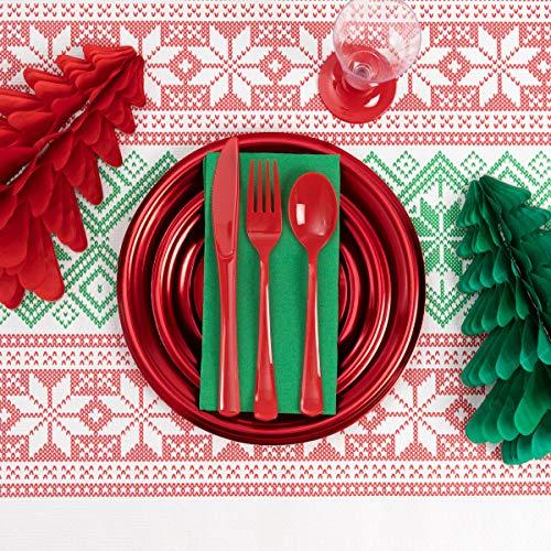 [Pack Ahorro] Kit Vajilla Navidad y Decoración Plata - Incluye Honeycombs Papel, Platos, servilletas, Cubiertos y Copas para 12 Personas