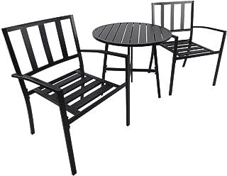 Outsunny Conjuntos de Mesa y 2 Sillas de Jardín Muebles Comedor Exterior Bistro Café Set Jardín Terraza Sillón Ancho y Cómodo Acero