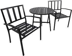 Outsunny Conjunto de Muebles de Exterior de 3 Piezas Mesa de Jardín y 2 Sillas a Juego con Reposabrazos Incorporados en Negro