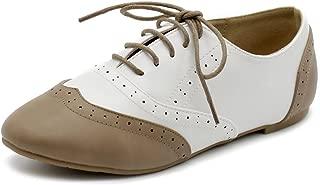 Ollio Womens Oxford-Flats White Size: 10