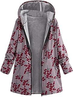 a2e4ff0bb5447 FNKDOR Manteau Femme Rétro Blouson à Imprimé Floral Veste à Capuche Manches  Longues Chaud Épais Parka