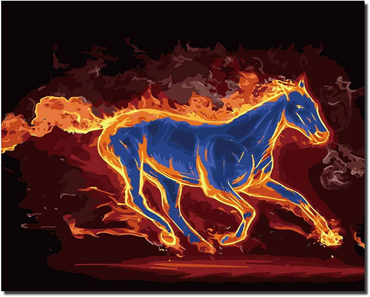 Flame Horse DIY Oil Painting color Set by Number 16x20 Inch Romantic Pattern Living Room Bedroom Office Home Decor with Inner Frame,framedcanvas