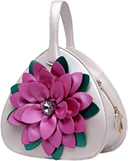 Trendy Lady Diamond Flower Tote Ethnic Style Shoulder Bag Zgywmz (Color : White, Size : 23 * 11 * 23cm)
