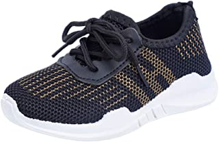Hopscotch Boys and Girls PU and Cloth Lace Up Sneakers in Black Color