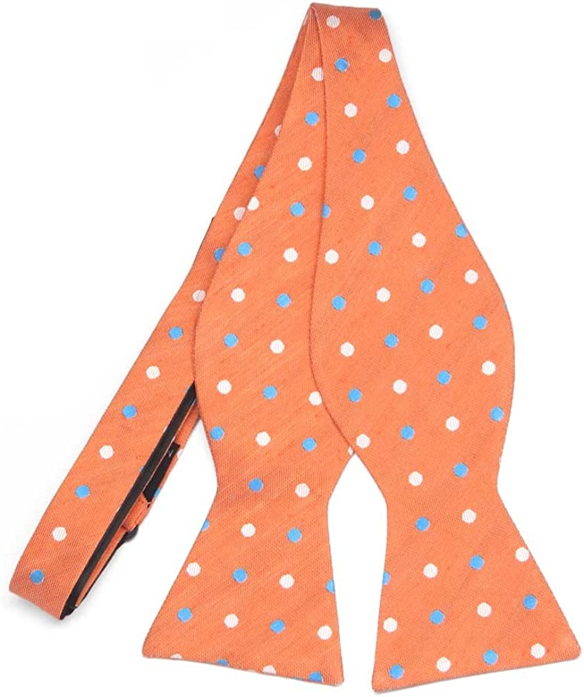 TieMart Regent Morris Neckwear Orange Jester Dot Linen/Silk Self-Tie Bow Tie