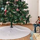 Blanca Faldas para el Árbol de Navidad con Patrón de Corazón, Peluche 36 Pulgadas de Pi...