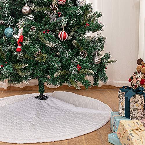 N /A Plüsch Weiße Weihnachtsbaum Röcke, 30 Zoll Runde Form Baumdecke Weihnachten Kunstfell Weihnachtsbaumrock Decke Abdeckung für Weihnachten Neues Jahr Dekoration (Weißes Herz, 36 inches)