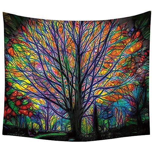 INTVN Bunter Baum Psychedelic Tapisserie Bohemian Mandala Hippie Tapisserie Bunt Baum Wandteppich für Psychedelic Forest Birds Wand Schlafzimmer Wohnzimmer Decor