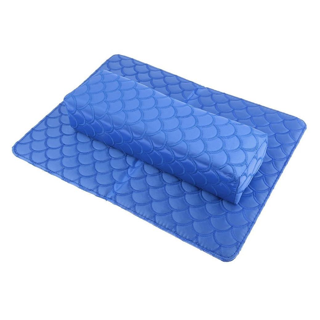 アレルギーおそらく魅力的B Blesiya 多色選べる ハンドピロー ソフト ハンドクッション ネイルピローパッド ネイルアート アームレストホルダー - 青