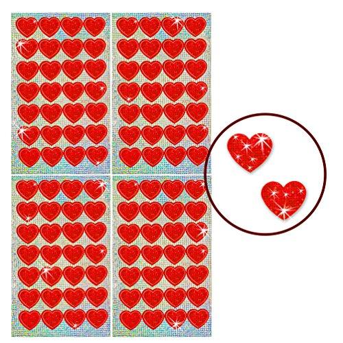 Oblique-Unique® - 112 x Glitzer Sticker Herzen Rot - Regenbogen Sticker für Kinder