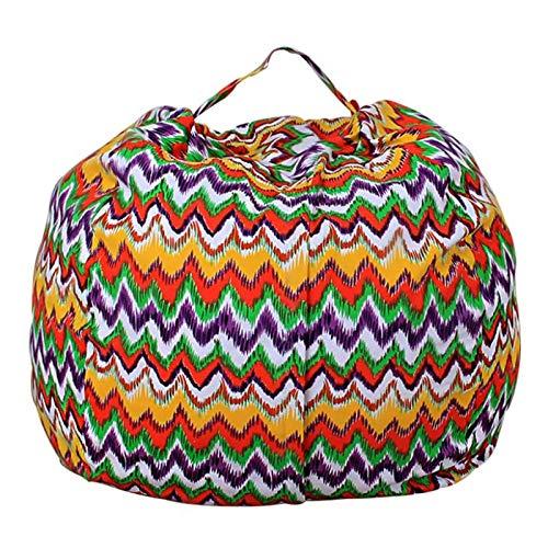Silla suave de la tela de la raya de la bolsa de la bolsa de frijoles del almacenamiento del juguete de la felpa del animal relleno de los niños de la alta capacidad