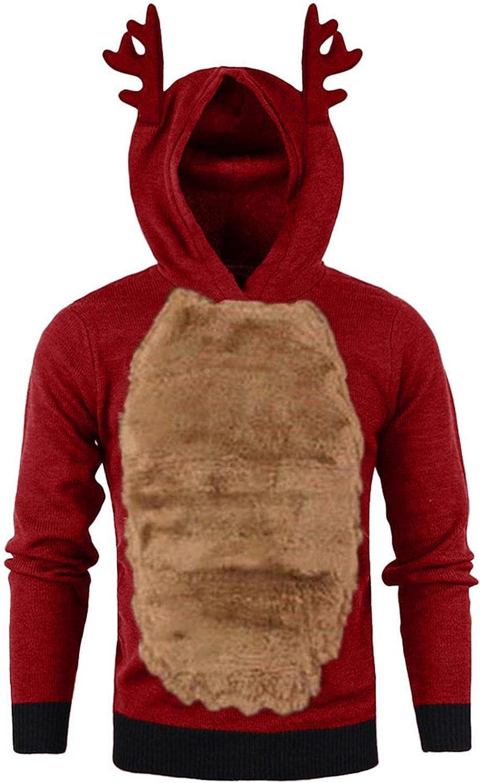 Xmas Christmas Hoodies For Men Contrast Long Sleeve Fleece Hooded Sweatshirt Closplay Elk Antlers Pullover