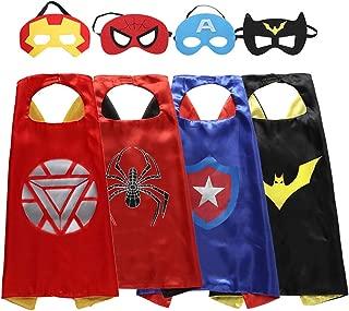 Superhero Kids Dress up Costumes 4 Satin Capes 4 Felt Masks Blue