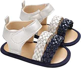 lakiolins Baby Girls Double Braided Strap Flat Sandals Summer Anti-Slip Beach Shoes