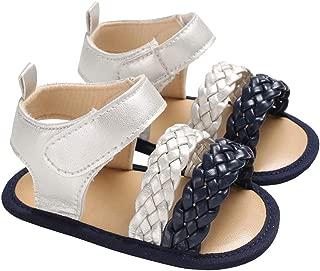 lakiolins Baby Girls Double Braided Strap Flat Sandals Summer Anti-Slip Beach Shoes