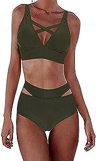 FeelinGirl Bikini badmode baddräkt vintage baddräkt magen hög midja bikiniset blommig tankini halshållare extra strandkläder