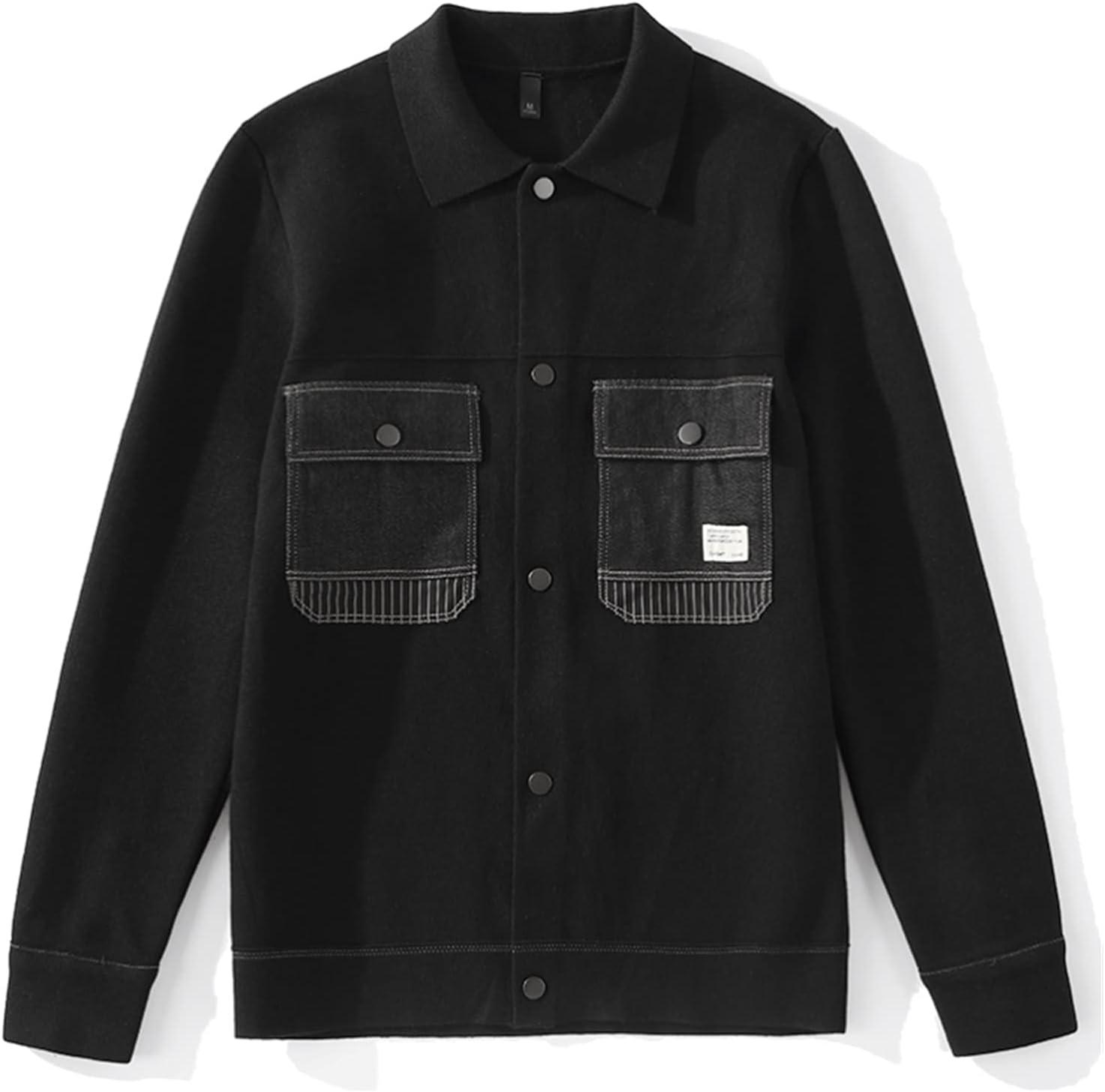TJLSS Patchwork Lapel Sweater Zipper Pocket Decoration Men's Retro Slim Knit Cardigan (Color : Black, Size : XXXXL Code)